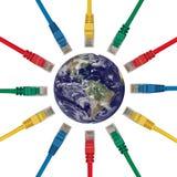 Fiches de réseau indiquant le globe d'une terre Photos libres de droits