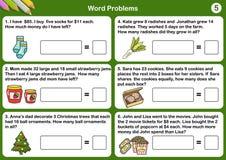 Fiches de travail de problème de mot de maths - feuille pour l'examen et l'essai illustration stock
