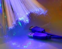 Fiches et fibre d'USB optiques photographie stock libre de droits