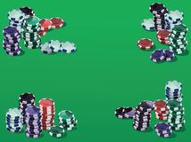 Fiches on green. Poker fiches on a green background. Each fiche is full and isolated in vector version Stock Photo
