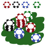 Fiches vector. Illustration of stacked colorful poker chips + vector EPS file Royalty Free Stock Photos