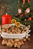 Fichi Nuts e secchi (a natale) Fotografia Stock