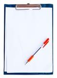Fichier bleu-foncé avec le papier de shite d'isolement Photos libres de droits