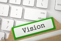 Fichier sur cartes avec la vision 3d Photo stock