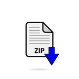 Fichier zip avec le bouton bleu de téléchargement de flèche sur le fond blanc Photographie stock