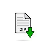Fichier zip avec le bouton vert de téléchargement de flèche sur le fond blanc Photographie stock libre de droits