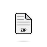 Fichier zip sur le fond blanc Image stock