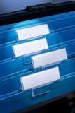 Fichiers blanc dans le meuble d'archivage Photographie stock