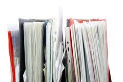 Fichiers dans les dépliants de bureau images stock