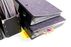 Fichiers dans les dépliants de bureau Photos stock