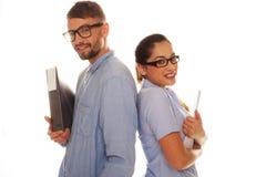 Fichiers de recopie ringards de couples à un arrière-plan blanc photos libres de droits