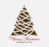 Fichte in der geschnittenen Papierart mit Text Weihnachts- und des neuen Jahresdekorativer Entwurf glückliches neues Jahr 2007 Ve lizenzfreie abbildung