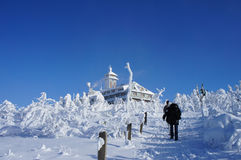 The Fichtelberghaus in winter Stock Photo