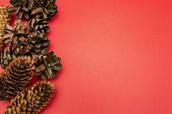 Fichten- und Kiefernkegel auf einem rotes Hintergrundkartenfeier Weihnachtsneuen Jahr stockfoto