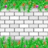 Fichtenzweigweißbacksteinmauer lizenzfreie abbildung