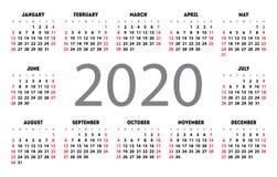 Fick- grundläggande raster 2020 för kalendervektor Mall för enkel design vektor illustrationer