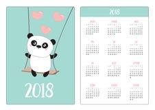 Fick- kalender 2018 år Veckan startar söndag Pandaritt Royaltyfri Foto