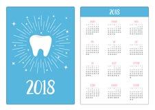 Fick- kalender 2018 år Veckan startar söndag Sunt Arkivfoton