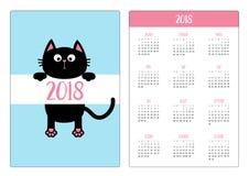 Fick- kalender 2018 år Veckan startar söndag Svart roligt Arkivbild