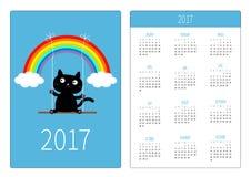 Fick- kalender 2017 år Veckan startar söndag Vertikal riktningsmall för plan design stock illustrationer