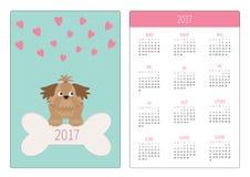 Fick- kalender 2017 år Veckan startar söndag Vertikal riktningsmall för plan design Liten glamoursolbrännaShih Tzu hund, hjärtor royaltyfri illustrationer