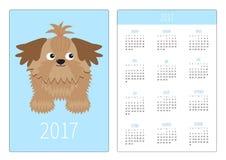 Fick- kalender 2017 år Veckan startar söndag Vertikal riktningsmall för plan design Liten glamoursolbrännaShih Tzu hund isolate stock illustrationer