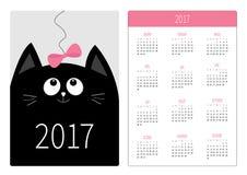 Fick- kalender 2017 år Veckan startar söndag Vertikal riktningsmall för plan design Rosa färger för pott för den svarta katten bu Arkivfoton