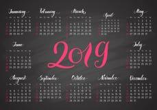 Fick- kalender, 2019, i mörka färger som märker Royaltyfria Foton