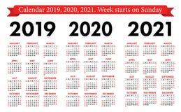 Fick- kalender 2019, 2020, uppsättning 2021 Grundläggande enkel mall Veckastarter på söndag stock illustrationer