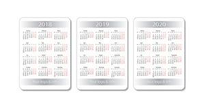 Fick- kalenderuppsättning för vektor 2018, 2019 och 2020 år Vit designmall Arkivfoto