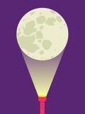 Ficklampa och måne Arkivfoton