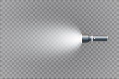 Ficklampa på genomskinlig bakgrund Arkivbilder