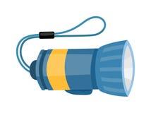Ficklampa som isoleras på den vita vectoen för hjälpmedelsäkerhetsutrustning Stock Illustrationer