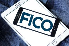 FICO data analytics company logo. Logo of FICO company on samsung mobile. FICO is a data analytics company Stock Photo