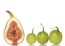 Fico e tre Goosberries Fotografie Stock Libere da Diritti