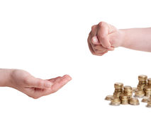 Fico gesture to hand asking for money Royalty Free Stock Images