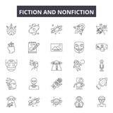 Fictioin en non-fictielijnpictogrammen, geplaatste tekens, vector Fictioin en de non-fictie schetsen concept, illustratie: non-fi royalty-vrije illustratie