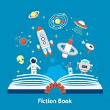 Fiction Book Illustration. Open fiction book concept with future space mysterious symbols vector illustration Royalty Free Stock Images
