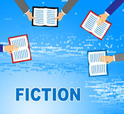 Fiction Books Shows Imaginative Writing And Education. Fiction Books Meaning Creative Writing And Study Stock Photo