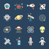 Fiction Icon Set. With aliens space shuttle cyborg weapons isolated vector illustration Royalty Free Stock Photos
