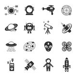 Fiction Icons Black Set. With spaceman spaceship and flying saucer isolated vector illustration Stock Photo