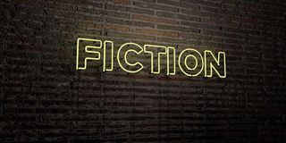 FICTION -Realistic Neon Sign on Brick Wall background - 3D rendered royalty free stock image Royalty Free Stock Images