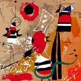 Fictional artwork modern art style. And abstract background illustration, with circles/dots, strokes and splashes royalty free illustration