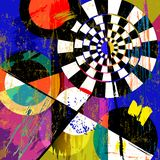Fictional artwork modern art style. Abstract geometric background, with circles, triangles, paint strokes and splashes Royalty Free Stock Photos