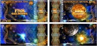 Fictional banknotes of the Intergalactic Imperial Bank. And also blank forms of banknotes. Gift certificate, Voucher, Coupon template with colorful rainbow royalty free illustration