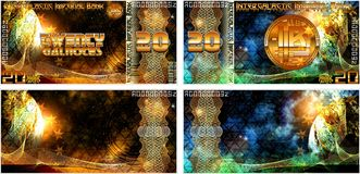 Fictional banknotes of the Intergalactic Imperial Bank. And also blank forms of banknotes. Gift certificate, Voucher, Coupon template with colorful rainbow stock illustration