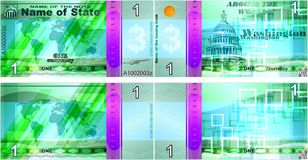 Fictional banknotes on the theme `Around the world`. Blank forms for banknotes. Gift certificate, Voucher, Coupon template with colorful rainbow guilloche stock illustration
