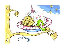 Fictional being from outer space. Little alien in spacecraft Stock Photos