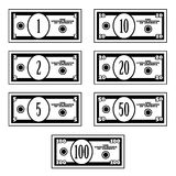 Fictional black white dollar banknotes. Illustration for the web Stock Photography
