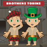Fictional cartoon character - brothers. Wild West fictional cartoon character - two brothers Royalty Free Stock Photography
